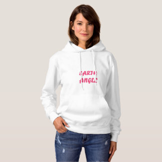 white hooded sweatshirt with wings design