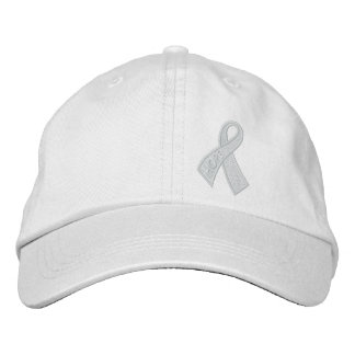 White Hope Cancer Ribbon Awareness Embroidered Hat