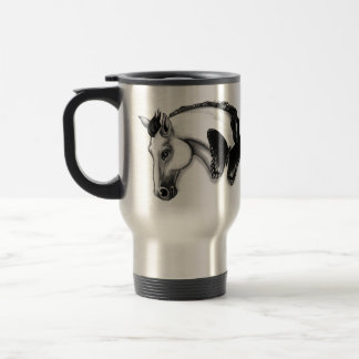 White Horse and Butterfly Design Travel Mug