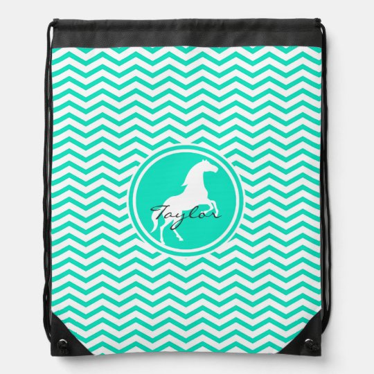 White Horse; Aqua Green Chevron Cinch Bags