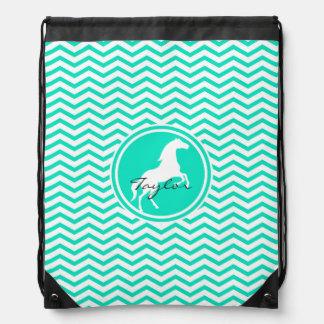 White Horse; Aqua Green Chevron Drawstring Bag