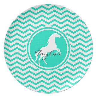 White Horse Aqua Green Chevron Plates