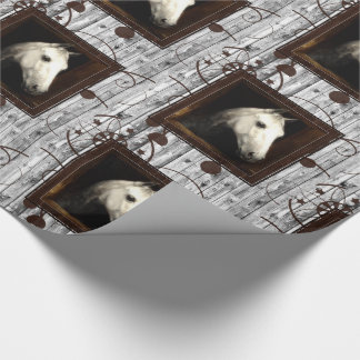 White Horse Barn Wood and Western Brown Wrapping Paper