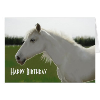 White Horse Birthday Blank Card