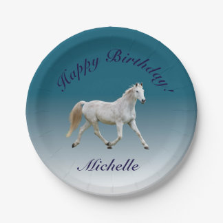 White Horse Birthday Plates 7 Inch Paper Plate