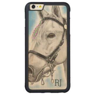 White Horse Carved Maple iPhone 6 Plus Bumper Case