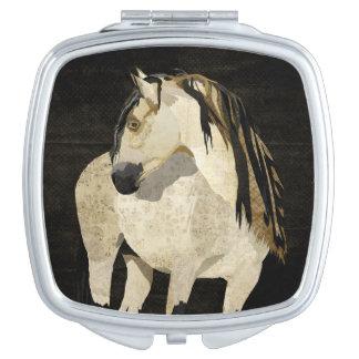 White Horse Compact Mirror