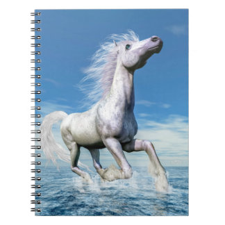 White horse freedom - 3D render Note Books
