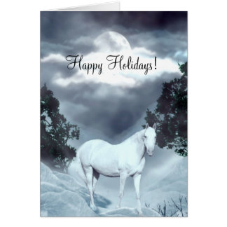 White horse Happy Holidays Card