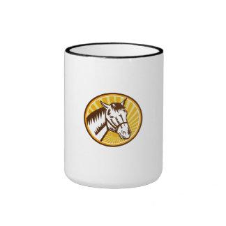 White Horse Head Sunburst Circle Woodcut Ringer Coffee Mug