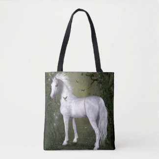 White Horse in the Woods with Hummingbirds Tote