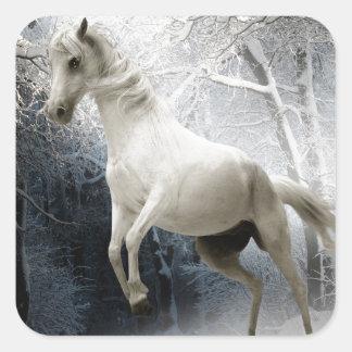 White Horse in Winter Square Sticker