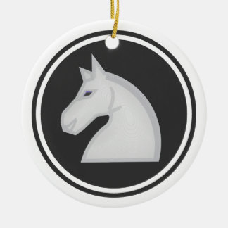 White Horse Knight Chess Round Ceramic Ornament