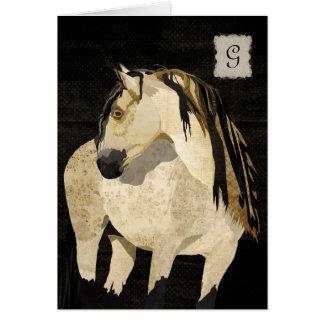 White Horse  Monogram Notecard Stationery Note Card