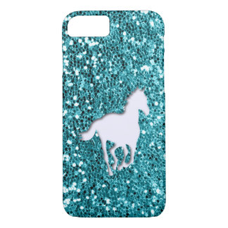 White Horse on Aqua Glitter Look iPhone 8/7 Case