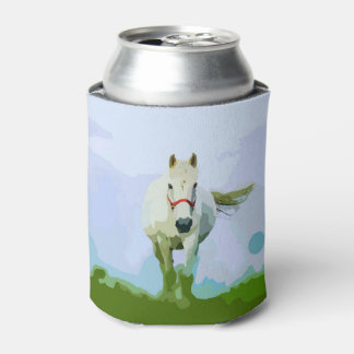 White Horse Painted Portrait Can Cooler