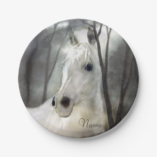 White Horse Paper Plate
