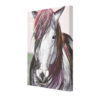 White Horse Pink Hair Art Design Canvas Print