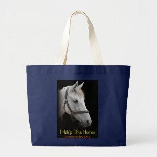White Horse Portrait on Black Large Tote Bag