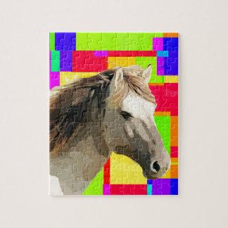 White Horse Portrait Painting Pop Art Jigsaw Puzzle
