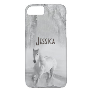 White Horse Running in a Snowy Forest iPhone 8/7 Case