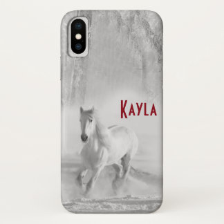 White Horse Running in a Snowy Forest iPhone X Case
