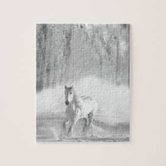 White Horse Running in a Snowy Forest Jigsaw Puzzle