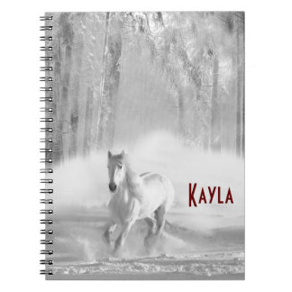 White Horse Running in a Snowy Forest Notebook