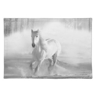 White Horse Running in a Snowy Forest Placemat