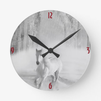 White Horse Running in a Snowy Forest Round Clock