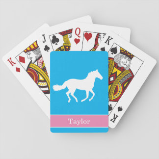 White Horse Sky Blue Background with Pink Name Playing Cards
