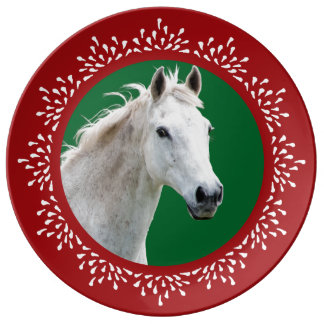 White Horse Teardrop Holiday Plate Porcelain Plates