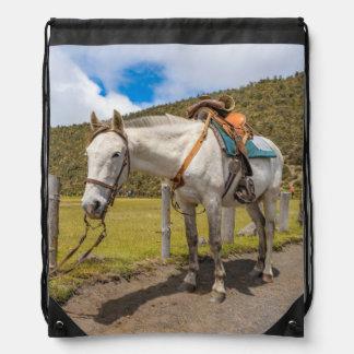 White Horse Tied Up at Cotopaxi National Park Drawstring Bag