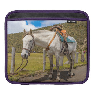 White Horse Tied Up at Cotopaxi National Park iPad Sleeve