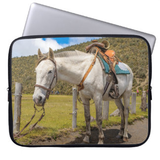 White Horse Tied Up at Cotopaxi National Park Laptop Sleeve