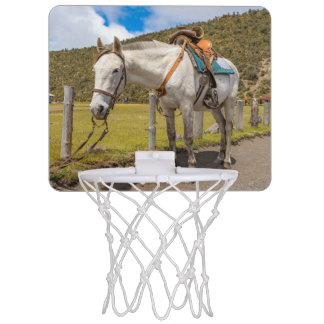 White Horse Tied Up at Cotopaxi National Park Mini Basketball Hoop