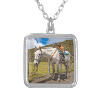 White Horse Tied Up at Cotopaxi National Park Silver Plated Necklace