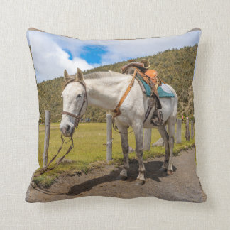 White Horse Tied Up at Cotopaxi National Park Throw Pillow