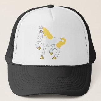 White Horse With Gold Mane Trucker Hat