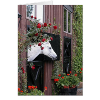 White Horse with Roses Card