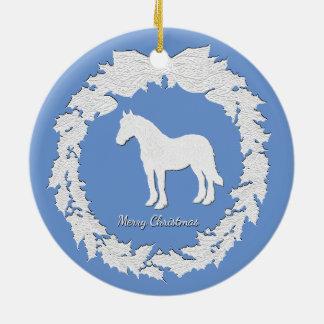 White Horse Wreath Personalize Color Text Ceramic Ornament