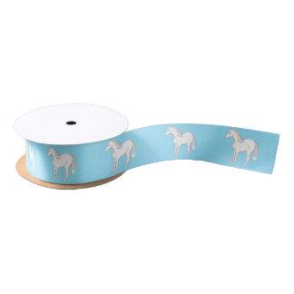 White Horses Light Blue Polka Dot Satin Ribbon