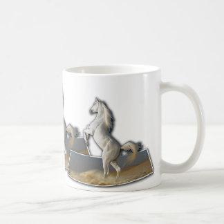 White horses rearing on mug