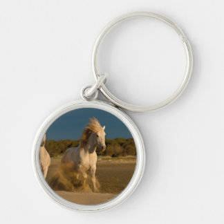 White Horses Running On Beach | Camargue, France Silver-Colored Round Keychain