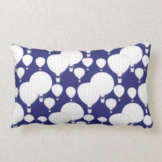 White Hot Air Balloons floating on Dark Blue Sky Lumbar Pillow