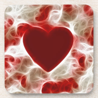 White Hot Red Heart Beverage Coasters