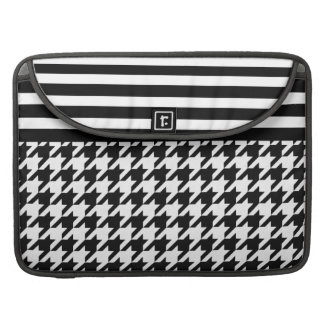 White Houndstooth w/ Stripes 2 Sleeves For MacBooks