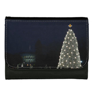White House and National Tree Christmas Holiday DC Leather Wallet