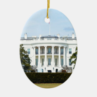 White House From The Lawn Ceramic Oval Ornament