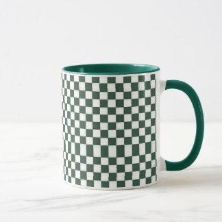 White & Hunter Green Checkers Mug
